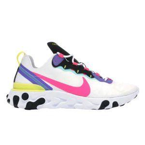 New Nike React Element 55 Men's White Pink Black P
